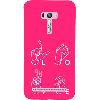 ifasho Animated Pattern With Love alphabets in finger Back Case Cover for Asus Zenfone Selfie