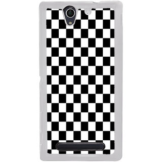 ifasho Squre and Checks In black and white Pattern Back Case Cover for Sony Xperia C4