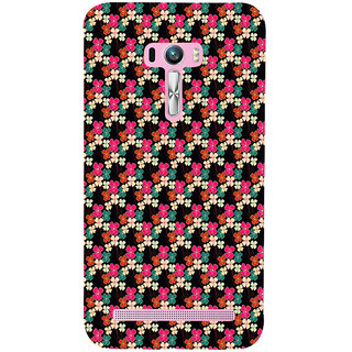 ifasho Animated Pattern design colorful flower in black background Back Case Cover for Asus Zenfone Selfie
