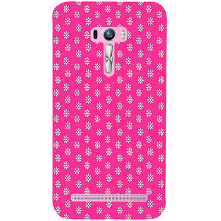 ifasho Animated Pattern design white flower in pink background Back Case Cover for Asus Zenfone Selfie