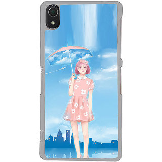 ifasho young Girl with umbrella painting Back Case Cover for Sony Xperia Z3