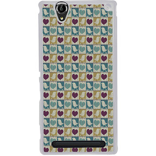 ifasho Animated Pattern birds and heart small size  Back Case Cover for Sony Xperia T2