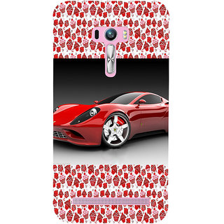 ifasho Stylish RED Car Back Case Cover for Asus Zenfone Selfie