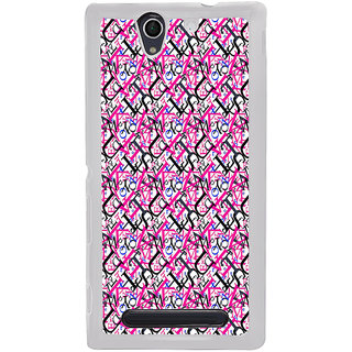 ifasho Modern Art Design Pattern with Lot Of alphabet Back Case Cover for Sony Xperia C4