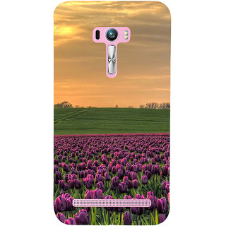 ifasho green Grass and purple flower at sunset Back Case Cover for Asus Zenfone Selfie