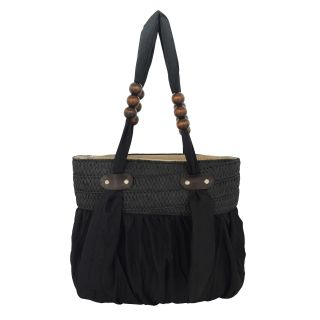 K.S Women's Black Cloth Ladies Handbag with Zip and 2 compartments