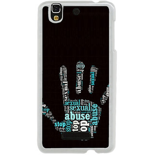 ifasho Modern Art Design  words in palm stop abuse Back Case Cover for Yureka