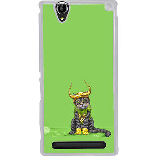 ifasho Animated Design cat with crown Back Case Cover for Sony Xperia T2