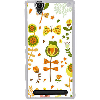 ifasho Animated Pattern colrful design cartoon flower with leaves Back Case Cover for Sony Xperia T2