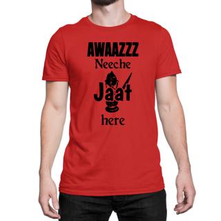 Desi Swag Orange Round Neck Half Sleeve T-Shirt for Men