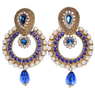 Pearl Earrings Blue and white combination