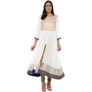 Prakhya Embellished Women's Long Anarkali Rayon Kurta(PR040BLUE)