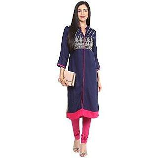 Prakhya Embroidered Women's Long Straight Rayon Kurta(PR023BLUE)