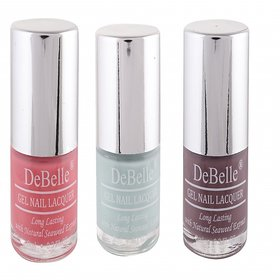 DeBelle Gel Nail Lacquer 8 ml each Combo of 3 (Baby Pink, Mint Blue  Mauve)