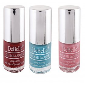 DeBelle Gel Nail Lacquer 8 ml each Combo of 3 (Marron, Turquoise Blue  Pink)