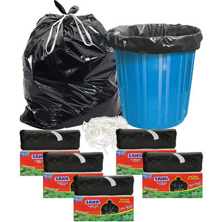 Sahil Pack of 5 Black Biodegradable Tie String Garbage Bags (150 pcs)