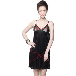 Kanika Women Satin Nighty-Black