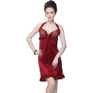 Kanika Women Satin Nighty-Maroon