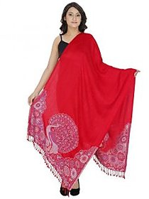 Indo Essence - Women's Designer Patch Embroidered Red Stole