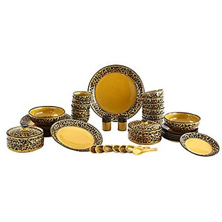 Dinner Set In Royal Golden Brown Color ( Set Of 37 Pcs ) By Stonish The Premium Stoneware