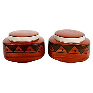 Barni/Jar Container In Royal Brown Colour With Egyption Pattern (Set Of 2) Handmade Pottery By Stonish