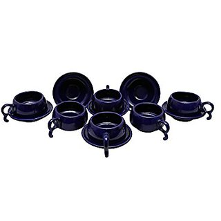 Tea Cup Amp Saucers Set In Blue Colour ( Set Of 12) Handmade Pottery On Stonish Platform