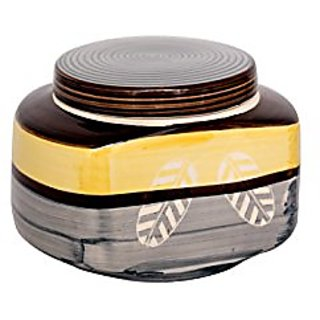 Barni/Jar Container In Yellow And Grey Colour With White Leaf Pattern (Set Of 1) Handmade Pottery By Stonish