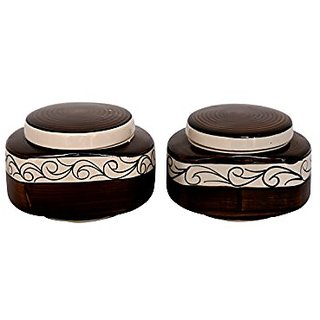Barni/Jar Container In Brown And White Colour With Flower Pattern (Set Of 2) Handmade Pottery By Stonish