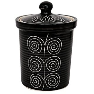 Barni/Jar Container In Black Colour With White Fiddle Pattern (Set Of 1) Handmade Pottery By Stonish