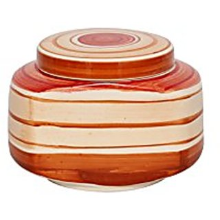 Barni/Jar Container In Orange And White Colour Wit Round Pattern (Set Of 1) Handmade Pottery By Stonish