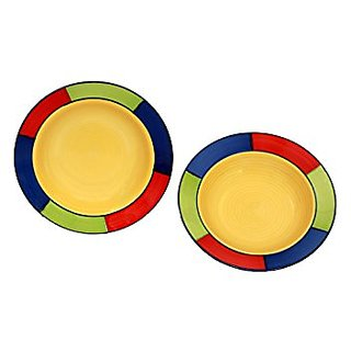 Soup Plate 9 Inches In Multi Colour With Yellow Pattern Colour (Set Of 6) Handmade Pottery By Stonish The Premium Stoneware
