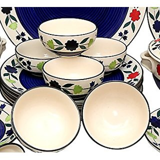 Dinner Plates 10 Inches In Royal Blue Colour In White Flowerpattern (Set Of 6 Pcs.)Handmade Pottery By Stonish The Premium Stoneware