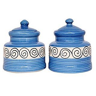 Barni/Jar Container In Blue And White Colour With Fiddle Pattern (Set Of 2) Handmade Pottery By Stonish