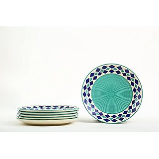 Dinner Plates10 Inch In Sea Greenolor With Blue Amp Seagreen Ace Pattern Handmade Pottery(Set Of 6) By Stonish The Premium Stoneware