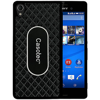 Casotec Metal Back TPU Back Case Cover for Sony Xperia M4 Aqua - Black
