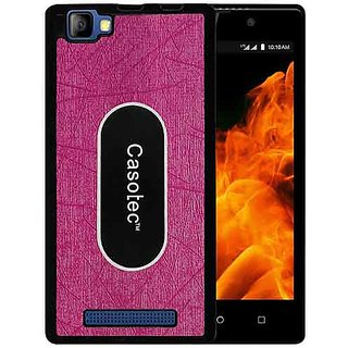 Casotec Metal Back TPU Back Case Cover for Reliance Lyf Flame 8 - Pink