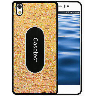 Casotec Metal Back TPU Back Case Cover for Reliance Lyf Water 8 - Gold