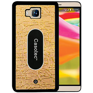 Casotec Metal Back TPU Back Case Cover for Reliance Lyf Wind 2 - Gold