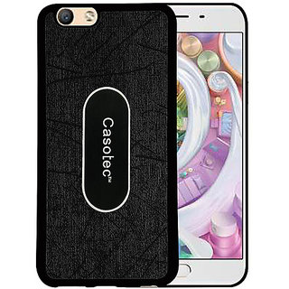 Casotec Metal Back TPU Back Case Cover for Oppo F1S - Black