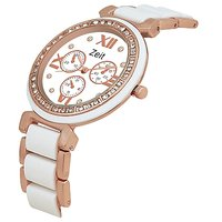 Zeit White Golden Metal Analog Watch For Women