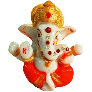only4you God Idol Marble Mukut Ganesha Temple Showpiece for Car Dashboard