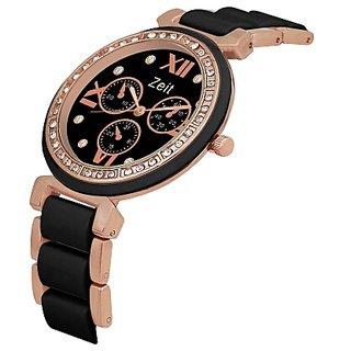 Zeit black golden formal watch for women
