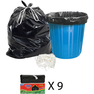 Sahil Pack of 9 Black Biodegradable Tie String Garbage Bags (270 pcs)