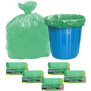 Epido Pack of 5 Green Biodegradable Drawstring Garbage Bags (50 pcs)