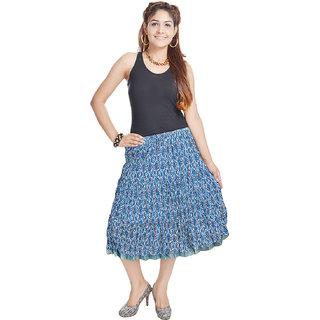Jaipuri Floral Design Pure Cotton Short Skirt