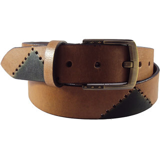 National Leathers Tan Antic Casual Belt For Men's