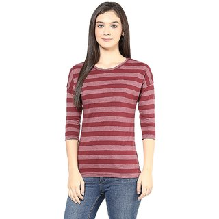 Maroon Color Stripped Top for Women