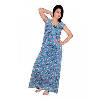 Kanika Women Cotton Nighty-Blue
