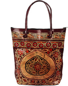 Batik Indian Shantiniketan Vintage Leather Tote Bag / Ethnic Shopping Bag / Large Boho Hippie  Bag / Colorful Leather Ba
