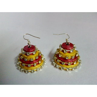dual colour paper stone hook earring